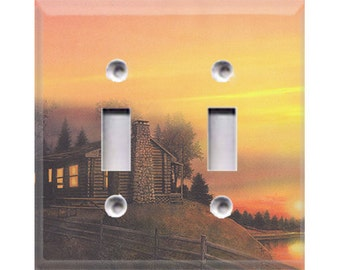 Outdoor Cabin Style 2 Double Light Switch Cover