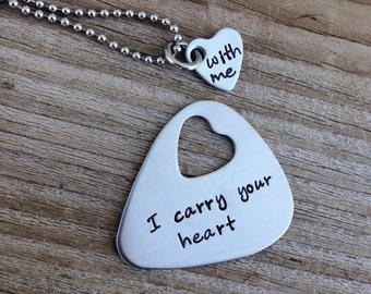 Guitar pick and necklace set hand stamped I carry your heart with me stainless steel gift anniversary 11 year long distance relationship