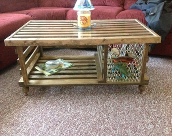 Handmade Wooden Lobster Trap Coffee Table White Finish Free