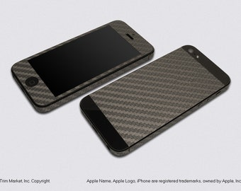 For Apple iPhone 5 Model A1428, A1429 Grey Carbon Fiber Protector Decal Skin Body Wrap 6pcs