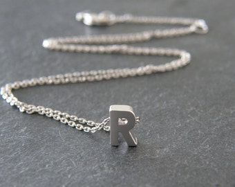 Personalized Silver Initial Letter R Necklace, Alphabet Necklace, Simple, Modern, Everyday