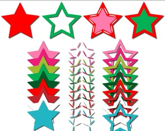 Christmas clip art star frames, star clipart, holiday digital scrapbook supplies, scrapbook frames DIGITAL DOWNLOAD SB-256