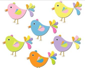 "bird clip art: ""pastel dreambirds"" cute bird clipart in pastel colors for card making, wedding, scrapbooks, crafts DIGITAL DOWNLOAD CA-273"