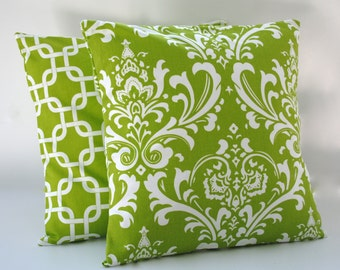 Two Premier Prints floral and screen green/white pillow covers, cushion, 18x18, decorative throw pillow, decorative pillow, accent pillow