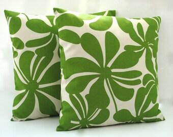 Two Premier prints green  floral pillow covers, cushion, 18x18, decorative throw pillow, decorative pillow, home decor