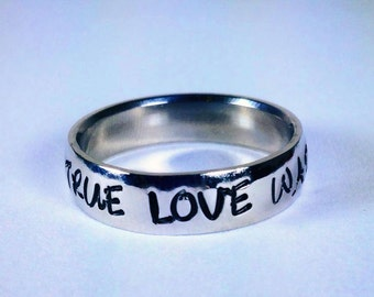 """Purity ring, Personalized Ring, Engraved Ring, Personalized/Engraved Ring """" Wedding Band Style"""", name Ring, Class Ring WBSS01"""