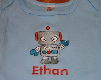Baby Boy Robot Shirt - Baby Boy Robot Outfit - Robot Shirt - Personalized Baby Boy Clothes