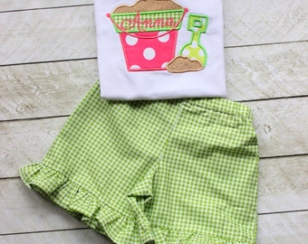 Girls ruffle short outfit Little girl summer outfit Sandpail Sand Bucket shirt with lime green gingham ruffle shorts toddler girl outfit