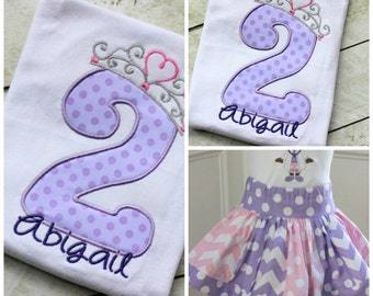 girls birthday outfit pink purple birthday skirt set toddler birthday outfit with personalized top and number chevron and polka dot skirt