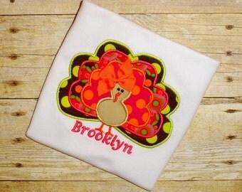 girls turkey shirt  thanksgiving shirt toddler girl turkey shirt turkey LOVE brown polka dot girls thanksgiving shirt clothing for children