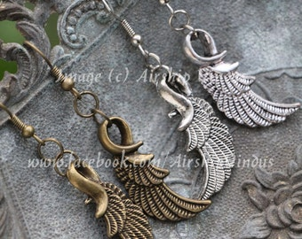 Graceful Wing Earrings, Choice of Bronze or Silver