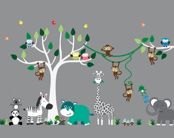 Nursery Jungle WALL DECAL, Reusable Fabric Tree Wall Decal, Jungle Decal - N170