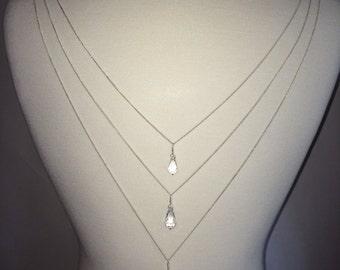 Trinity - Swarovski crystal drops and chain back attachment