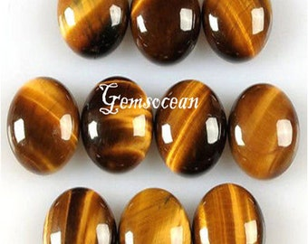 Lot of Stunning 20 Pieces AAA Quality Golden Tiger Eye 6x8 mm Oval Cabochon Loose Gemstone Calibrated