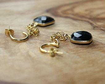 Goldfilled Chain Onyx Earrings