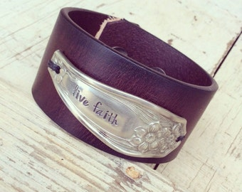 Popular items for live faith on etsy Repurposed leather belts