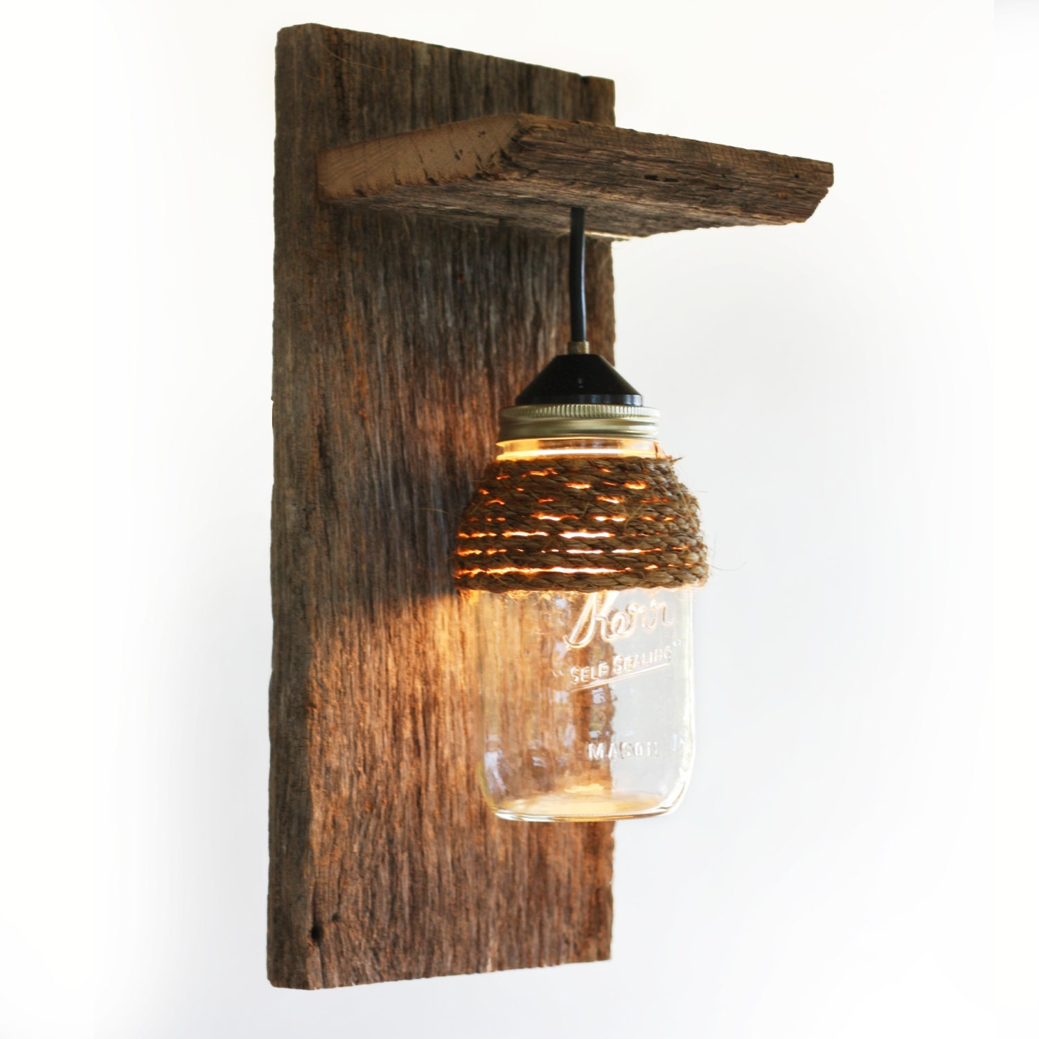 mason jar light wall fixture barnwood wall by grindstonedesign. Black Bedroom Furniture Sets. Home Design Ideas