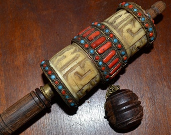 Antique Tibetan Tibet Turquoise and Coral Embellished Prayer WheelAntique Tibetan Prayer wheel  with semi precious stones