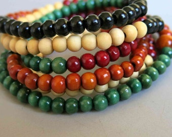 108pcs Mixed Color Wooden Beads Prayer Beads Japa Mala 8mm - A451