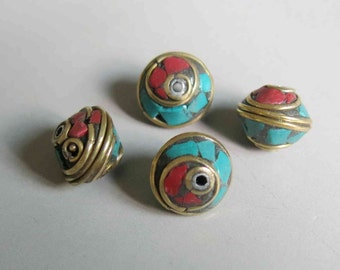 10pcs Nepal Tibetan Brass Bead With Turquoise Coral Inlay 10mm x 12mm - A430