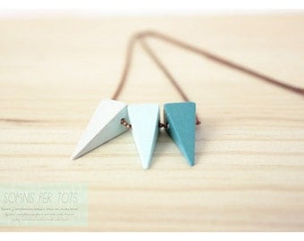 Wooden necklace pyramids blue