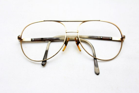 Large Gold Frame Glasses : Rare 80s Vintage LOGISTICS Large GOLD-FRAME by ...