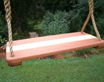 Wood Tree Swing- Cherry/Maple Wide