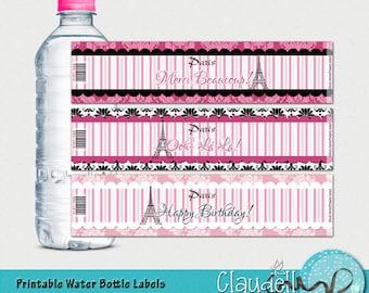 Dreaming of Paris Printable Water Bottle Labels - 300 DPI