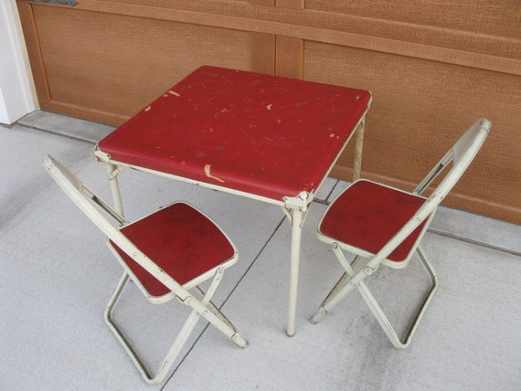 Mid Century Childs Card Table And Chairs Folding Chairs