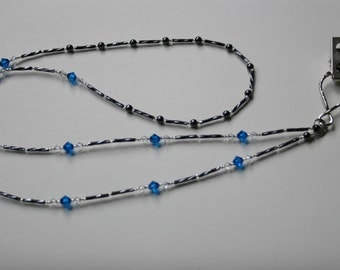 Blue crystals lanyard with hematites