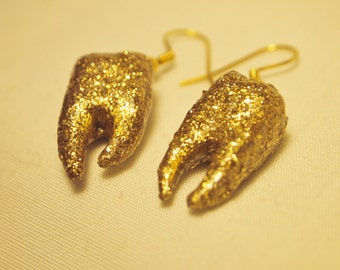 Gold Glittery Tooth Earrings