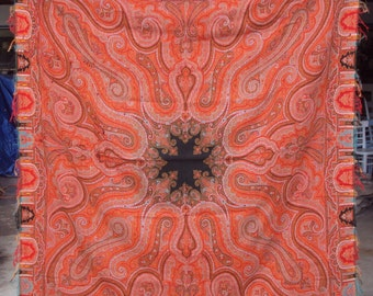 Kashmir woven Antique Paisley Shawl wool