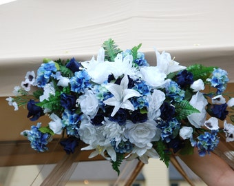"Arch Swag Centerpiece Royal blue-blue-white-40"" Long Large Arrangement"