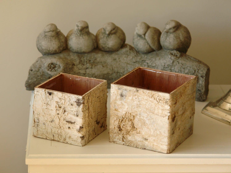 Betulla corteccia vasi scatole di legno quadrato fiori vaso for Vasi di legno
