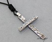 Sterling silver Cross Necklace with black cord.. Handmade Cross.. Men's / Women's Cross pendant .