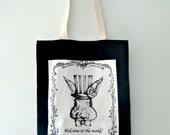 SALE Alice in Wonderland Tote Bag/Black & White tote bag