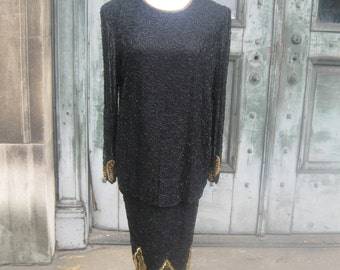 FREE SHIPPING on this Vintage Sequined Peplum Dress
