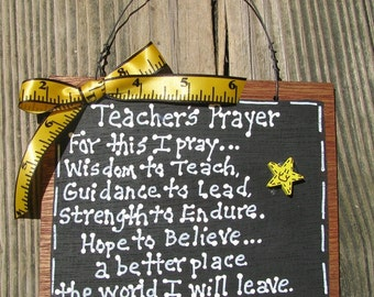 Teacher Gifts S197 Wood Teacher Prayer Slate