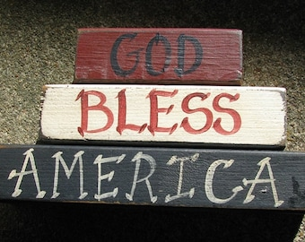 Primitive Blocks 161GBA God Bless America set of 3/blocks