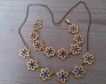 Vintage blue rhinestone flower design necklace and bracelet set