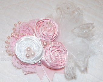 Light pink rosette Headband by Caprice Colette