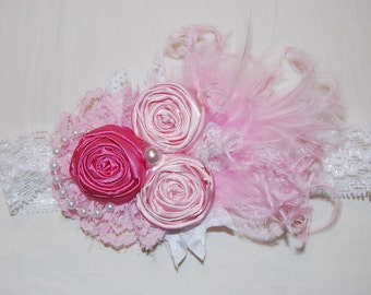 Pink rosette Headband by Caprice Colette