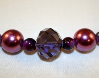 """Plum beaded 18.75"""" necklace with silvertone magnetic clasp"""