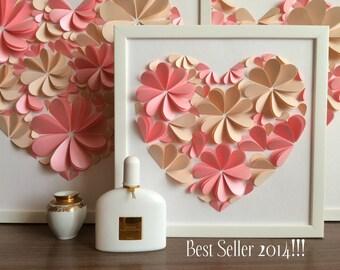 Modern Guest Book - 3d Heart Guest Book - Pink Guest Book by MIO GALLERY