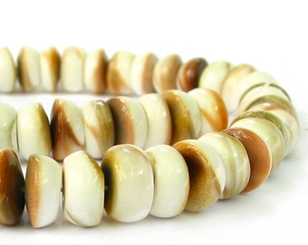 """15"""" 12mm Conch Shell rondelle Spiral beads  - natural off white cream color - full strand"""
