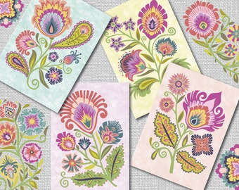 "Folk Style Blank Note Cards Wycinanki Floral -""Joy"" Set of 4-Blossom Colors"