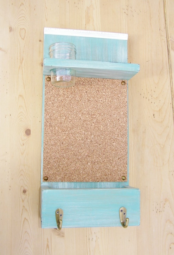 Wall mail organizer mail box mason jar key hooks by for Cork board with hooks