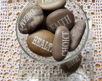 Lot of 10 Affirmation Meditation engraved Natural Sea Rocks Beach stones Healing, inspirational stone