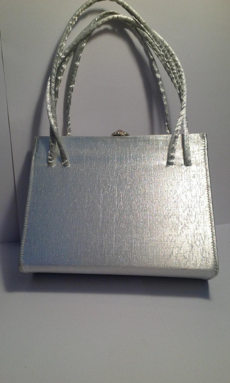vintage 60s silver evening bag rhinestone by onangelswingsvintage