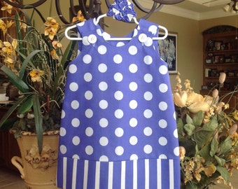 Purple Dots and Stripes Dress (girls, baby, toddler, infant, child) Spring, Summer,  jumper or sundress